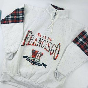 vintage San Francisco plaid red green gray half zi
